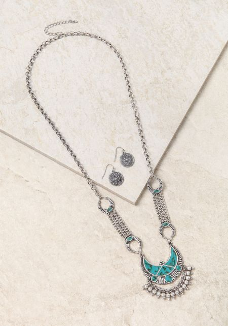 Turquoise Curved Pendant Chain Necklace