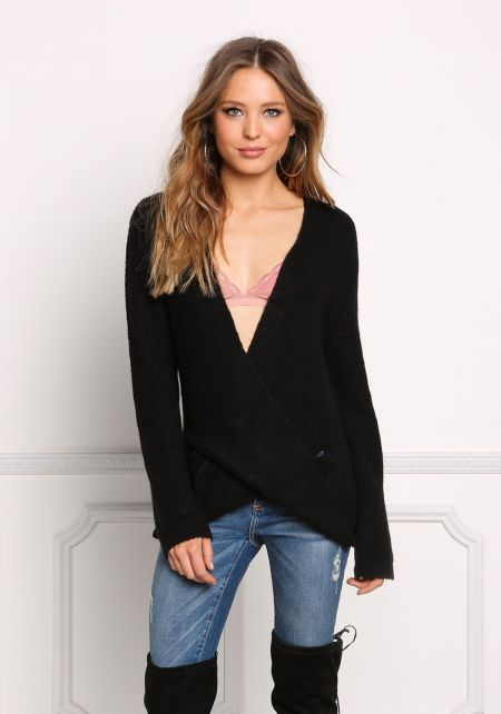 Black Soft Ribbed Knit Low Surplice Sweater Top