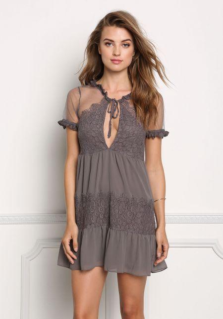 Charcoal Sheer Lace Trim Babydoll Dress