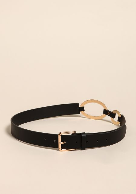 Black Faux Leather O-Ring Belt