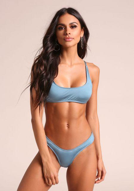 Blue Metallic Swimsuit Bikini Top