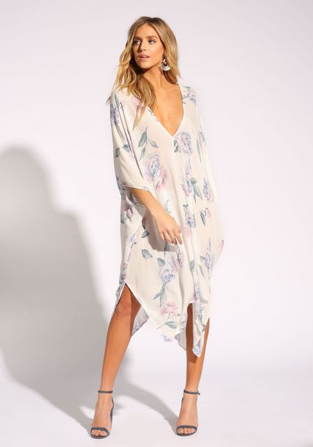 Off White Rose Caftan Midi Dress