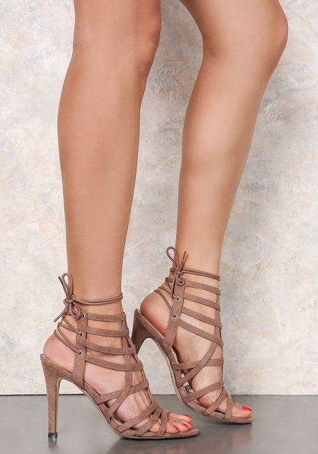 Taupe Suedette Cut Out Lace Up Heels