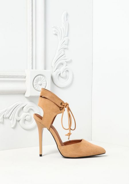 Camel Suedette Pointed Toe Strappy Heels