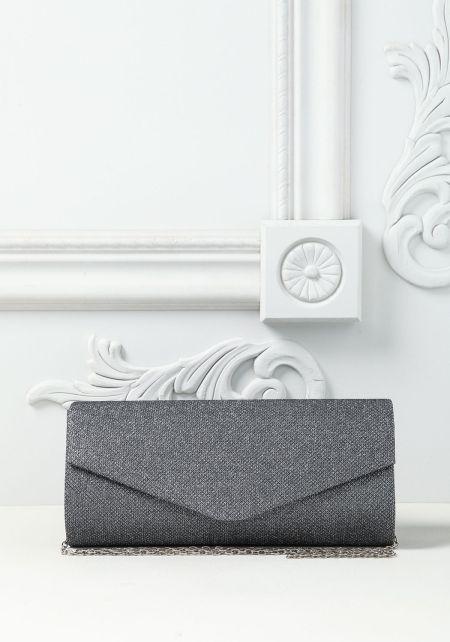 Heather Grey Shimmer Envelope Clutch