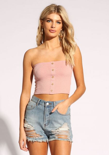 Mauve Button Trim Crop Top