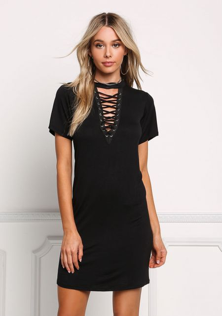 Black Deep V Lace Up Shift Dress