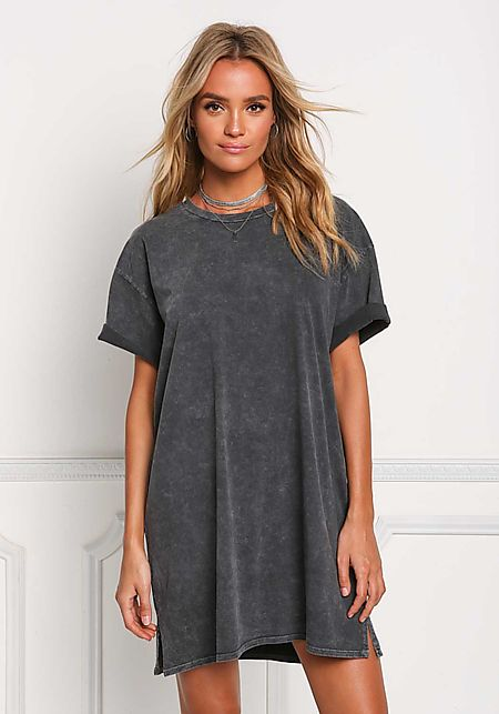 Black Light Vintage Wash T-Shirt Dress