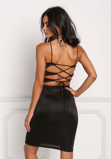 Black Cross Strap Lustrous Knit Bodycon Dress