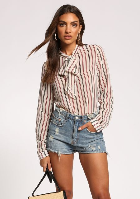 Taupe Pinstripe Neck Tie Blouse