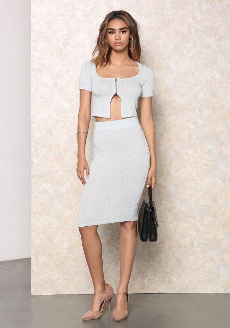 Baby Blue Marled Ribbed Knit Skirt