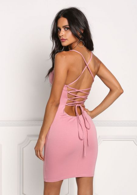 Pink Back Lace Up Bodycon Dress