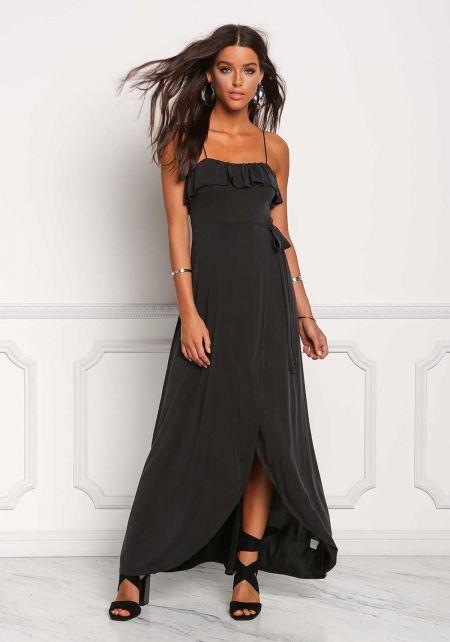 Black Ruffle Surplice Layered Maxi Dress