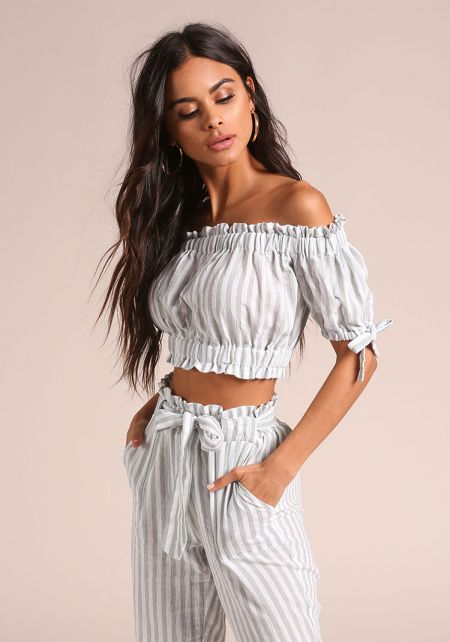 Sage Pinstripe Ruched Off Shoulder Crop Top