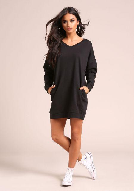 Black Pullover Pocket Sweater Shift Dress