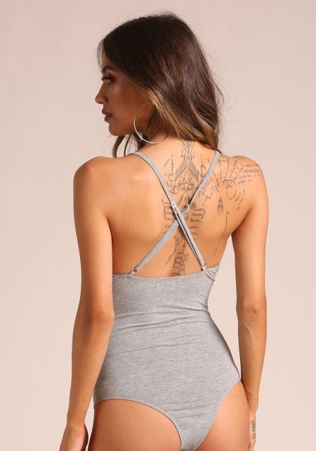 Grey Back Cross Strap Bodysuit