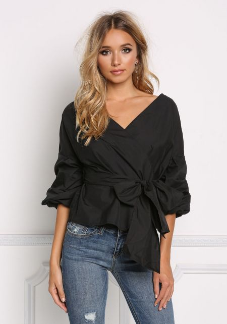 Black Ruched Sleeve Tie Front Blouse
