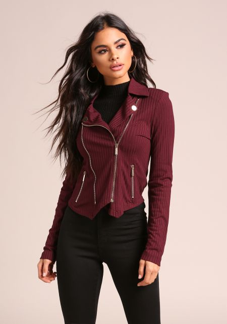 Burgundy Ribbed Knit Multi Zipper Jacket