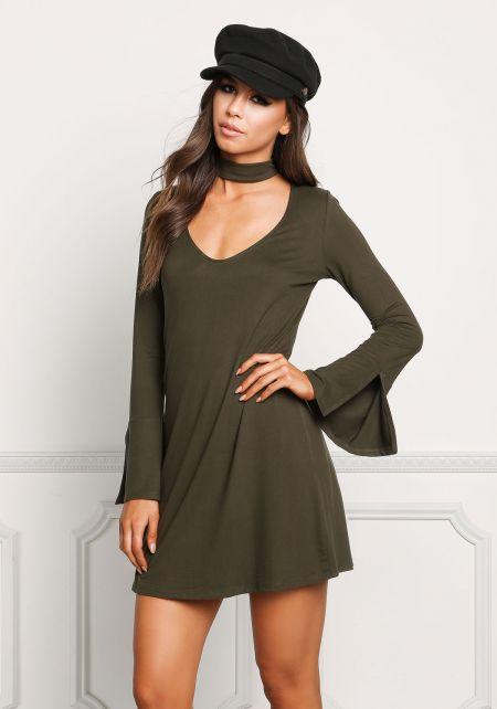 Olive Choker Cut Out Bell Sleeve Shift Dress