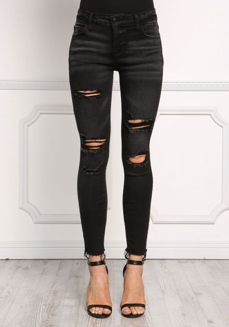 Black Distressed Mid Rise Jeans