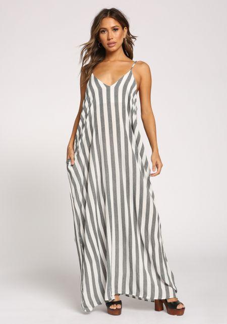 Black and White Stripe Pocket Maxi Dress
