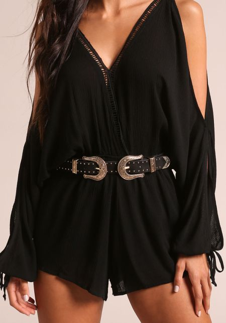 Black and Gold Double Buckle Suedette Belt