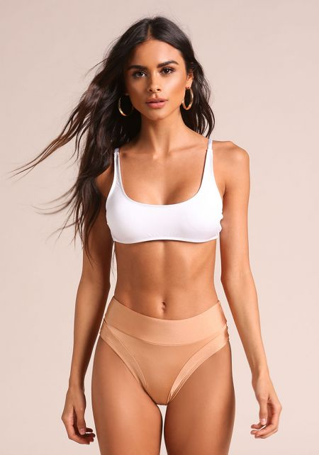 Nude High Rise Swimsuit Bikini Bottoms