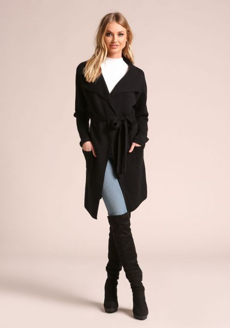 Black Cinched Longlined Thick Knit Cardigan