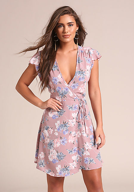 Mauve Floral Deep V Wrap Dress