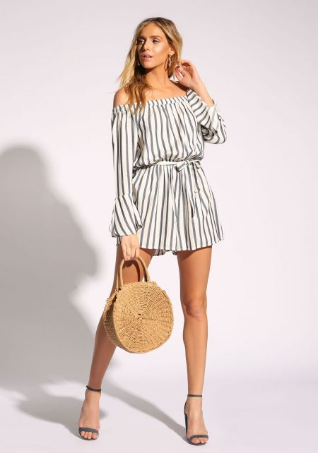 White and Navy Pinstripe Off Shoulder Romper