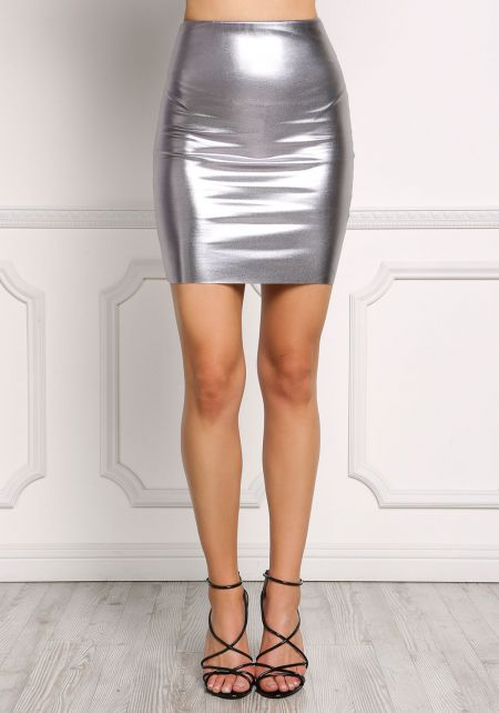 Silver Leatherette High Rise Skirt