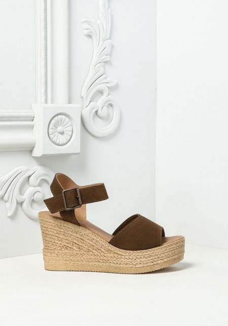 Olive Suedette Braided Wedges