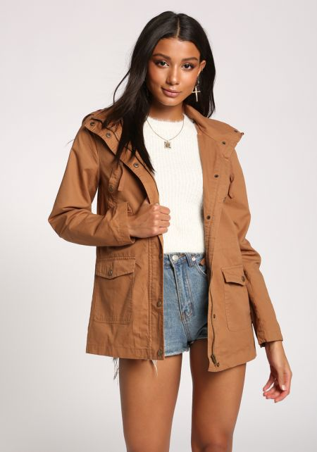 Camel Plaid Hooded Utility Jacket
