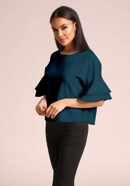 Hunter Green Tiered Bell Sleeve Blouse