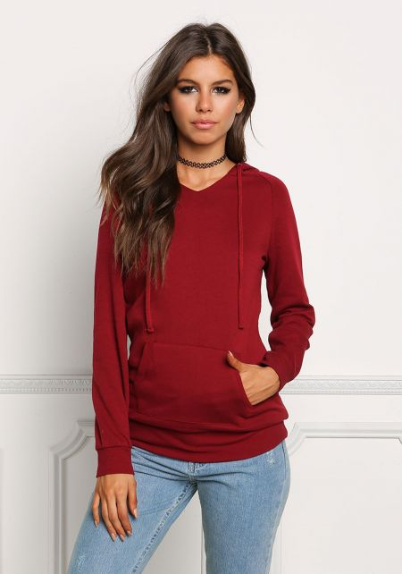 Burgundy Kangaroo Pocket Hooded Sweater