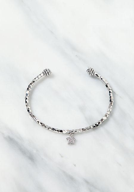 Silver Star Charm Cuff Bracelet