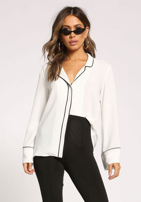 Off White Outlined Button Down Blouse