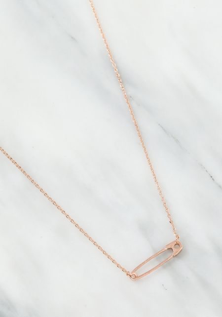Rose Gold Safety Pin Necklace