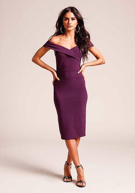 Eggplant Off Shoulder Bodycon Dress