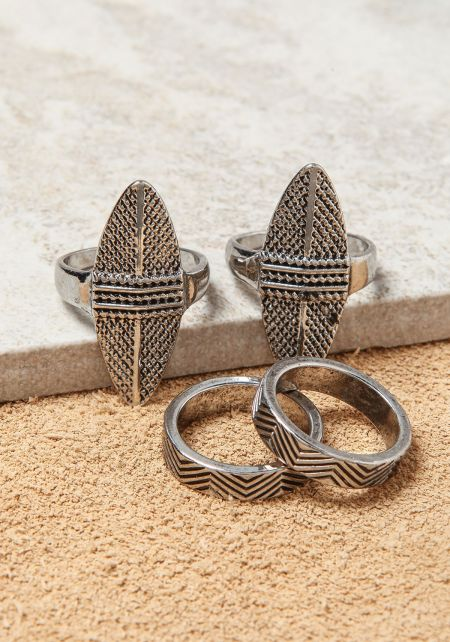 Silver Multi-Finger Assorted Rings