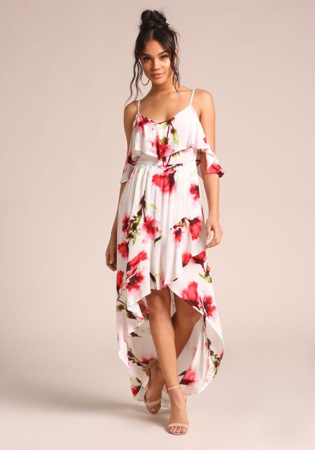 Ivory Floral Cold Shoulder Hi-Lo Dress