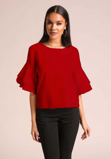 Red Tiered Bell Sleeve Blouse