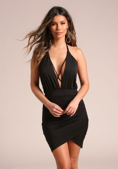 Black Plunge Cross Strap Halter Bodycon Dress