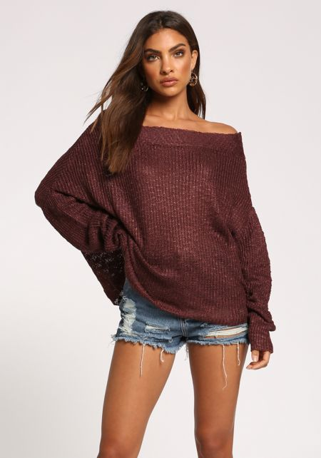 Dark Mauve Off Shoulder Puff Sleeve Sweater Top