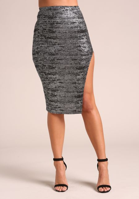 Black Sparkle Metallic Side Slit Skirt