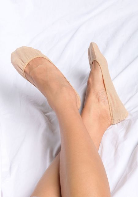 Beige Basic No Show Socks