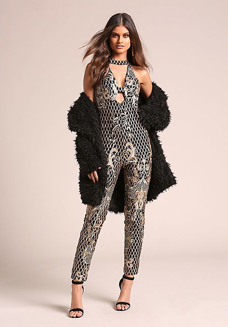 Black Shimmer Brocade Embroidered Plunge Jumpsuit