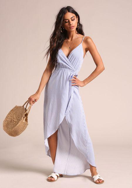 Blue Pinstripe Hi-Lo Wrap Maxi Dress