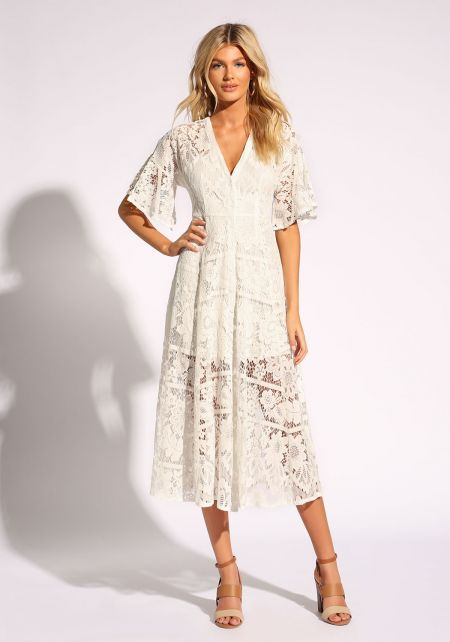 Off White Floral Lace Midi Dress