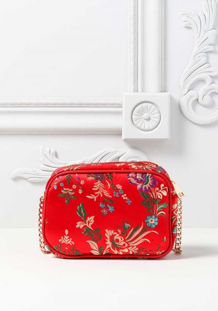 Red Quilted Floral Embroidered Crossbody Bag